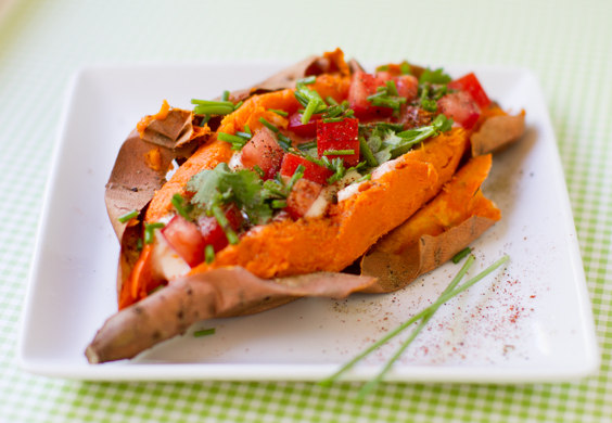 vegan stuffed sweet potato