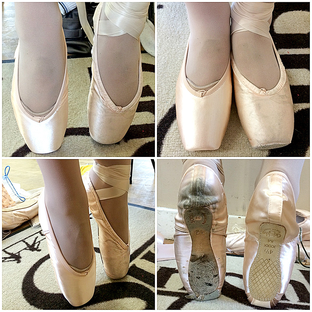 pointe shoe fitting comparison photos dead shoes to new Grishko pointe shoes
